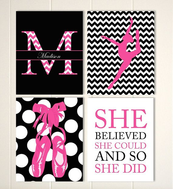 Ballerina wall art, teen girl room decor, ballet shoes, girls wall art, girl monogram art, inspirational girls art, set of 4 prints by PicabooArtStudio