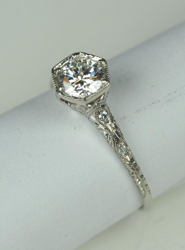 Simply Elegant Art Deco Engagement RIng by greenhilljewelers wedding