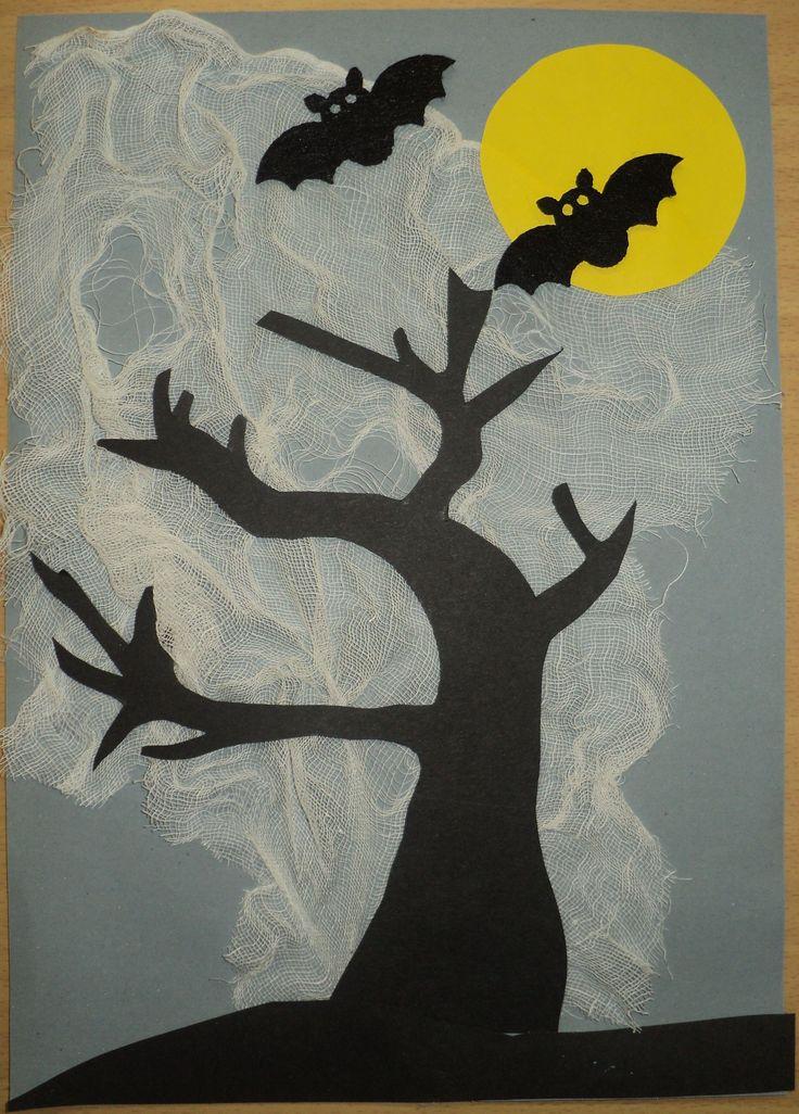 Strašidelná noc - barevné papíry, fáčovina a upíři z filcu