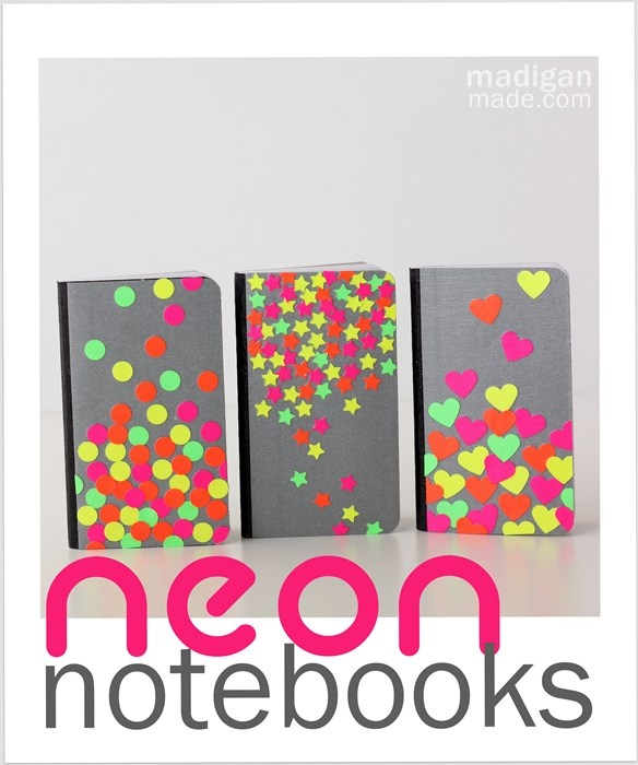 Easy Neon Confetti Notebook Crafts ~ Madigan Made { simple DIY ideas } - these are little note books but this idea would be cute for decorating book covers, or pocket folders or other school items & you could use an automobile punch, train punch, dinosaur punch, butterfly punch, elephant punch & magazine pages or scrapbook paper or gift wrap ...