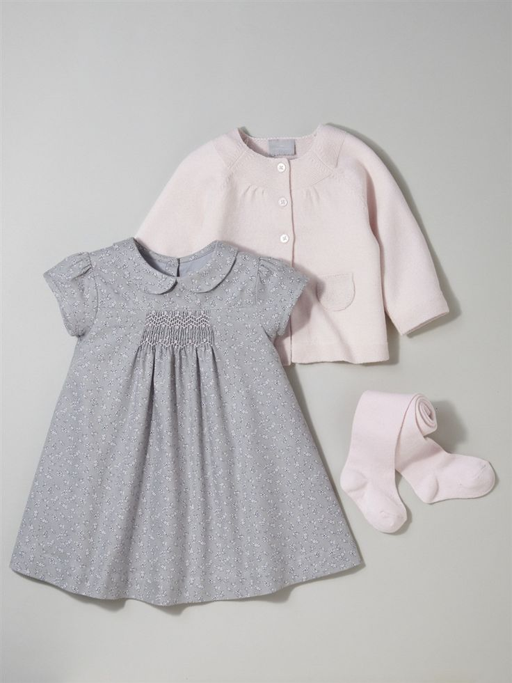 Silhouette BABY'S WOOL/COTTON CARDIGAN + BABY'S SMOCKED DRESS + GIRL'S PLAIN TIGHTS - sweet and simple