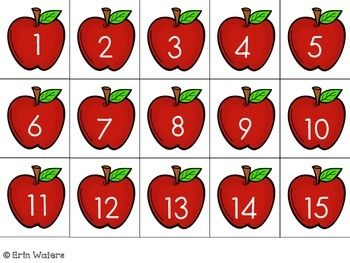 APPLES 1-100 FREEBIE - TeachersPayTeachers.com  -  These cute little apples are the perfect counting station for Kindergarten or First Grade! These are made to fit in a 1-100 pocket chart or they can be ordered on a desk or floor.