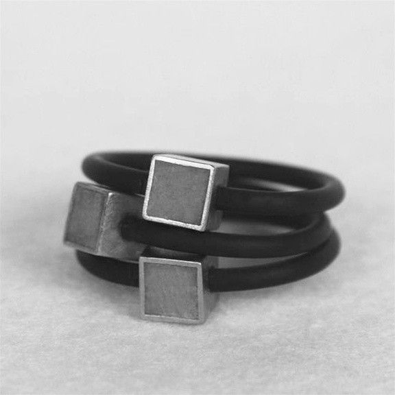 Hadas Shaham Cube Concrete Rings - Rubber,Concrete, Sterling Silver and Gold Plating - 40$