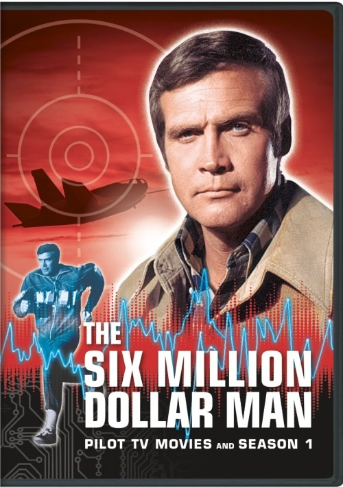 * The Six Million Dollar Man *.  Cool show of the 70s. He was rebuilt better that  ever. I loves the scenes where he ran and did super human things and it was slowed down and the crazy sound effects of echoing cymbals or somesuch. He was married to Farrah Fawcett.