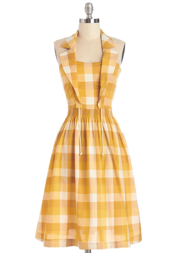 Grand Canyon Finale Dress. On the final day of your road trip, fancy up in this golden buffalo-plaid dress by Blutsgeschwister to watch the sun set over Arizona. #yellow #modcloth