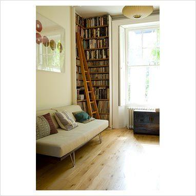 high bookshelf in living room