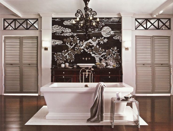 Luxury master bathroom with impressive wall painting near the bathtub. 50 Magnificent Luxury Master Bathroom Ideas ➤To see more Luxury Bathroom ideas visit us at www.luxurybathrooms.eu #luxurybathrooms #homedecorideas #bathroomideas @BathroomsLuxury