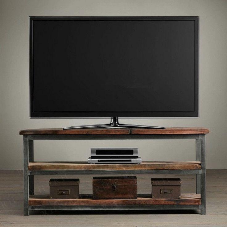 Goedkope amerikaanse retro hout tv kast ruw smeedijzeren tafels tv ...