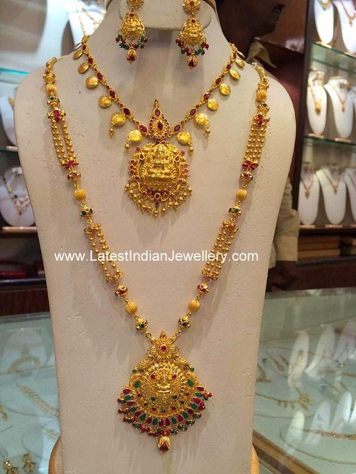 Temple jewellery Gold Necklace Haram Set