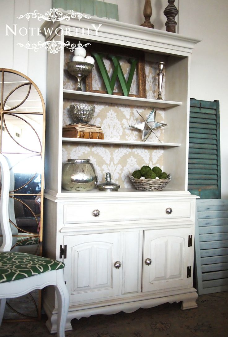 Gorgeous Open Hutch with Damask Back and Mercury by noteworthyhome, $499.00