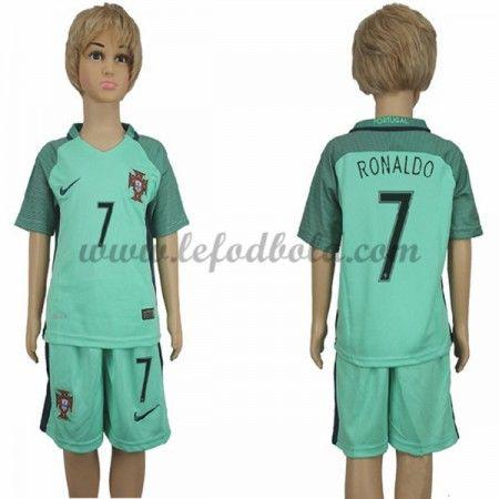 Portugal Børn Fodboldsæt UEFA Euro 2016 Cristiano Ronaldo 7 Kortærmet Udebane Fodboldtrøjer
