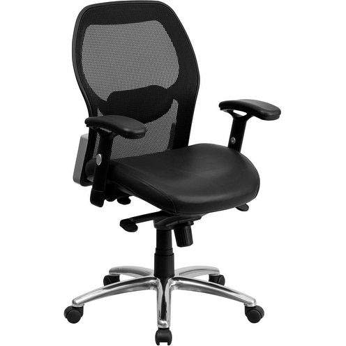 offex midback super mesh office chair with black leather seat and knee tilt control