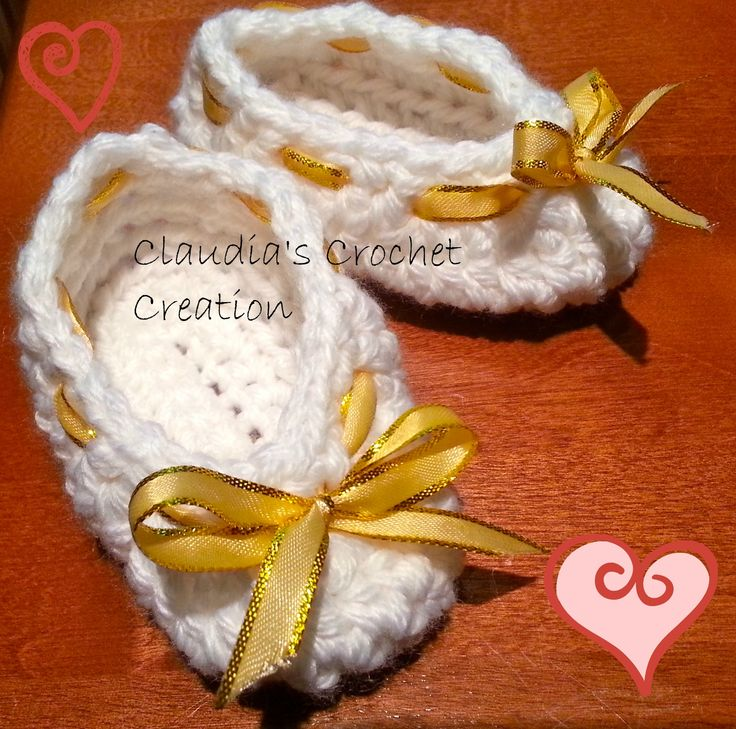 Slippers for your little ones. Can be adjusted with the ribbons.  https://www.facebook.com/ClaudiasCrochetCreations
