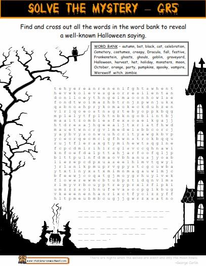 Grade 6 Halloween Hidden Message Worksheet Halloween