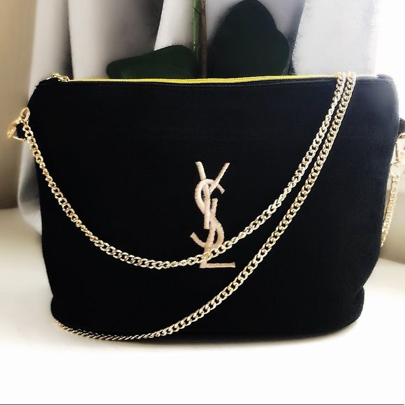 YSL Yves Saint Laurent Beaute Small Crossbody Messenger Black Velour VIP Gift