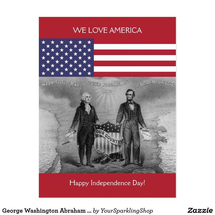 George Washington Abraham Lincoln #Patriotic USA #Card #IndependenceDay