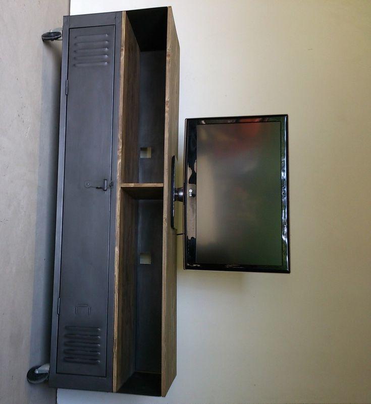 Les 53 meilleures images propos de cr ation restauration de meuble indust - Meuble tv avec niche ...