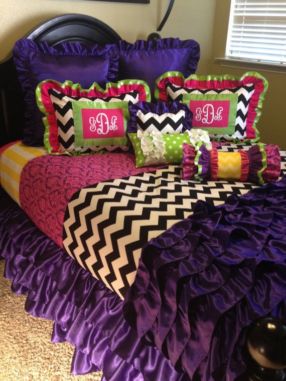 Monogrammed Mixed Design Girl's Bedding by LikeMyMotherDoes, $350.00