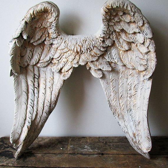 large angel wings wall sculpture hand painted cream white accented gold ornate detailed feathered wall decor