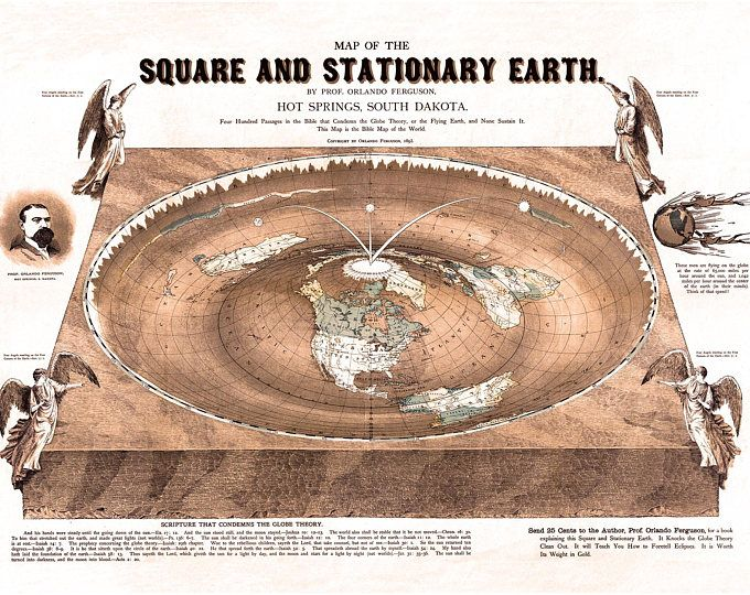 Flat Earth Map. 1893 Square and Stationary Earth Orlando Ferguson- Poster 24 x 18.