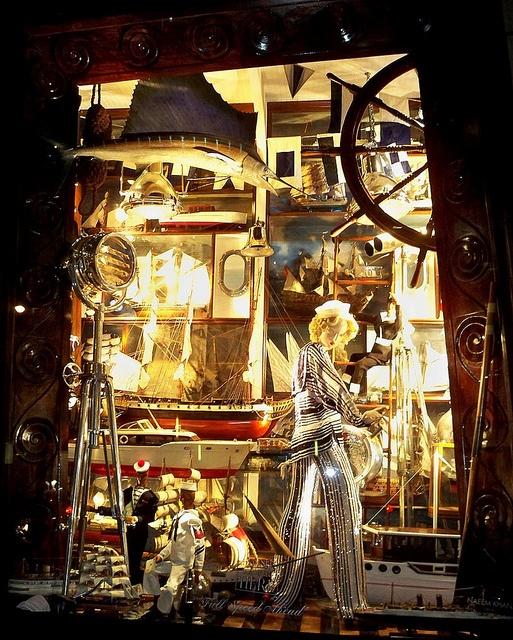 "Bergdorf Goodman Christmas window display called ""Full Speed Ahead"""