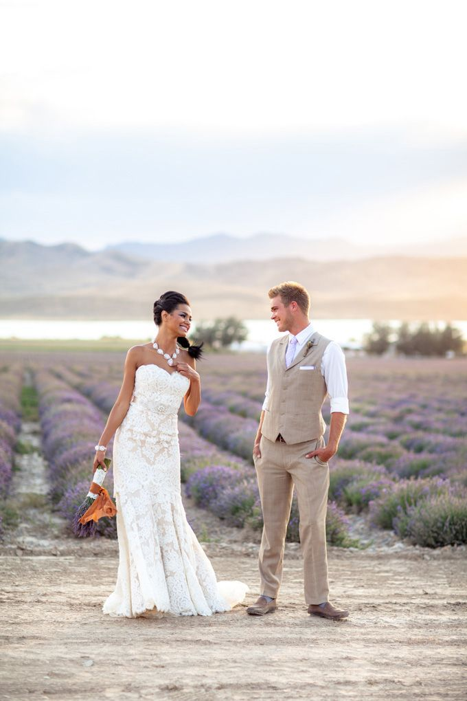 Love everything about this: Lavender bouquet with the orange ribbon, her dress, the casual look about the groom. Yep, yep, yep!