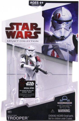 "Saleucami Trooper BD25 Star Wars Legacy Collection Action Figure by Hasbro. $14.00. Star Wars: Legacy Collection 3 3/4"" action figure line from Hasbro. Bonus Droid Factory part included so you can build your very own custom droid figure!. Saleucami Trooper is figure # BD25. For Ages 4 & Up. During the final days of the Clone Wars, Stass Allie leads Clone Troopers on the desert world of Saleucami. While patrolling on a speeder bike Allie is struck down by troopers who receive or..."