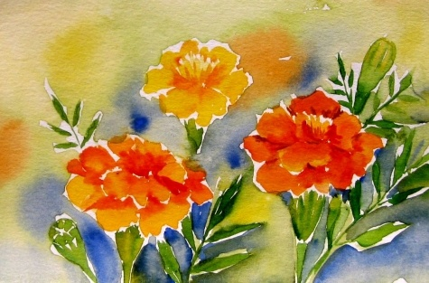 Marigold from My Garden II, painting by artist Meltem Kilic