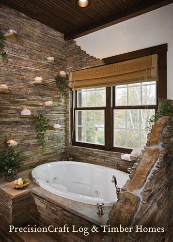 Log Home Bathrooms | Master Bathroom | Custom Hybrid Log & Timber Home | PrecisionCraft Log ...