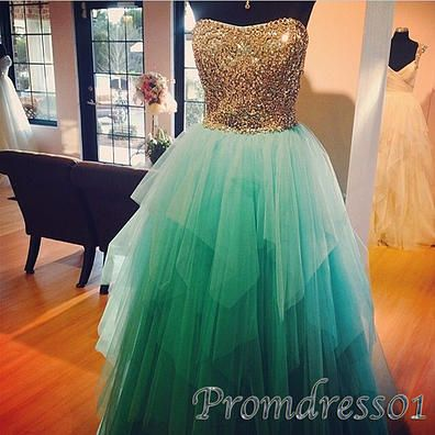 #promdress01 prom dresses - gorgeous sweetheart strapless green tulle layered prom dress for teens, ball gown with rhinestones, evening dress for season 2015