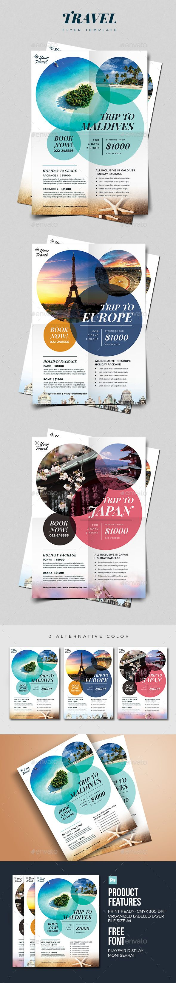 Travel Flyer — PSD Template #ad #beach • Download ➝ https://graphicriver.net/item/travel-flyer/18480681?ref=pxcr