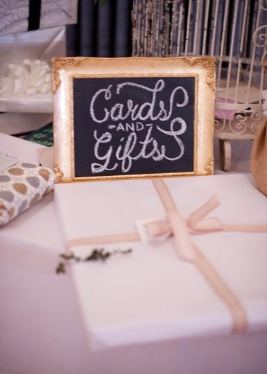 Cute chalkboard sign for the cards and gifts table! Photo by Ely Fair Photography. #wedding #chalkboard #sign