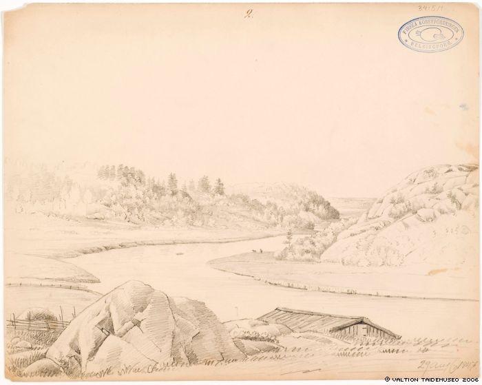 Wright, Magnus von. Vanhaa Helsinkiä Vantaanjoen suulla, 1847. VTM/KKA/Aaltonen, Hannu.
