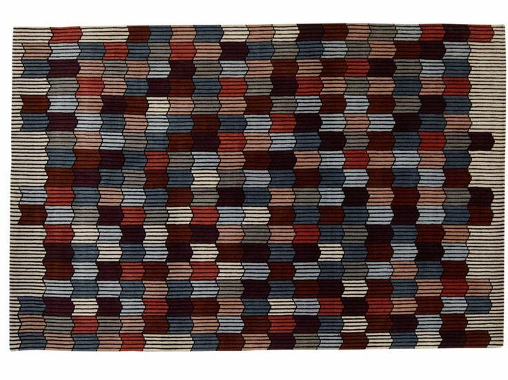 Tappeto fatto a mano rettangolare in lana a motivi geometrici MÉMOIRE D'UNE TRAME by ROSET ITALIA design Constance Frapolli