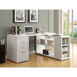 @Overstock.com - White Hollow Core Left Or Right Facing Corner Desk - clean lines and good use of corner space.
