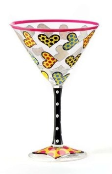 Amazon.com: Romero Britto Martini Glass - Icon Hand Painted with Hearts Design Decal: Kitchen & Dining