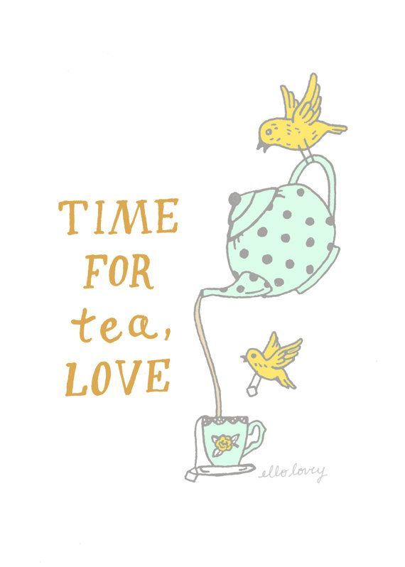 Time For Tea - Art Print - 5x7 on Etsy, $12.00 this makes me want to design my own tea set. Happy unbirthday perhaps