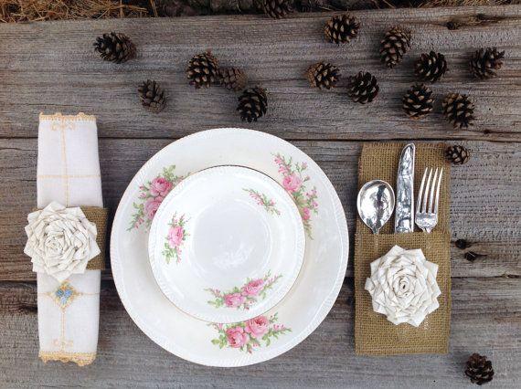 Titulaire d'argenterie de toile de jute et jute serviette anneau Set - Table de mariage - décorations de Table - décorations de mariage rust...