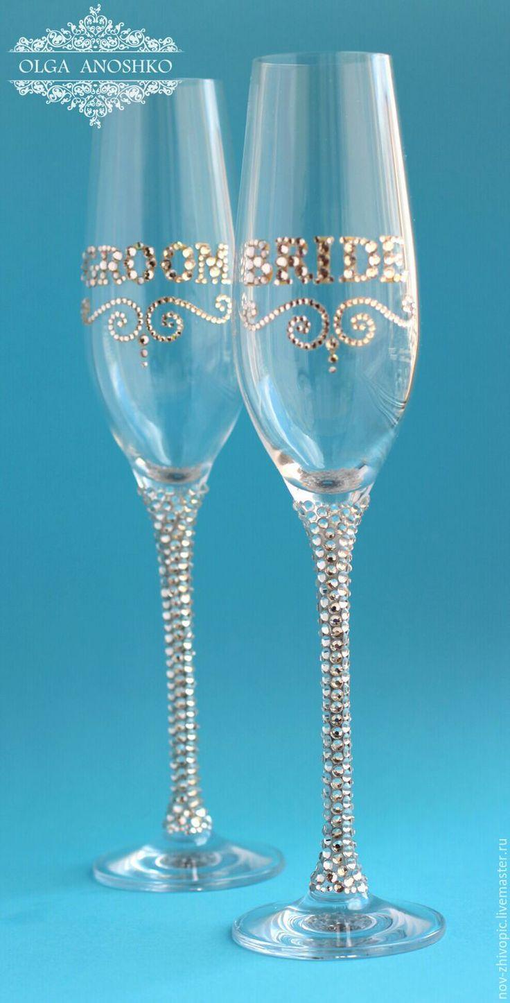 """Купить Свадебные бокалы """"BRIDE & GROOM"""". - свадьба, свадебные бокалы, свадебные аксессуары, на свадьбу"""