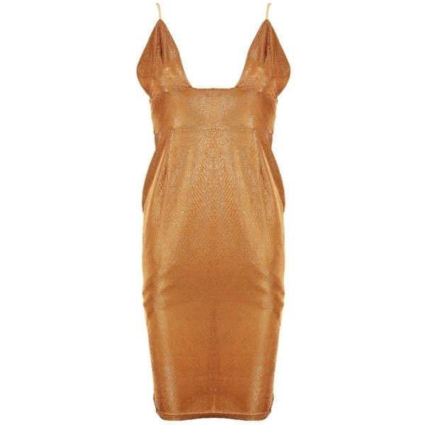 Boohoo Petite Eleanor Plunge Strappy Shimmer Midi Dress | Boohoo ($14) ❤ liked on Polyvore featuring dresses, beige dress, strap dress, shimmer dress, midi dress and midi cocktail dress