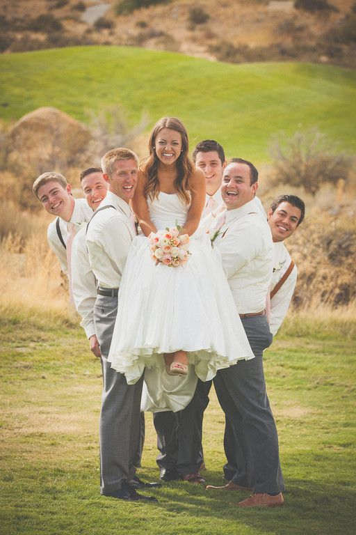 Fun bride and groomsmen pic!