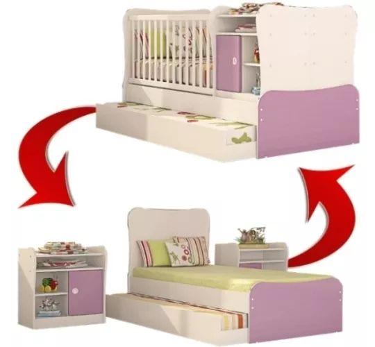 berço americano com trocador vira cama lilás - qmovi