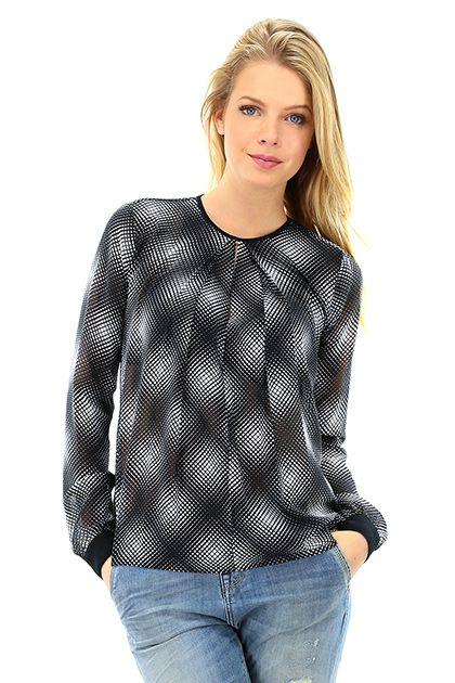 Michael Kors - Camicie - Abbigliamento - Camicia in tessuto leggero con stampa geometrica.  Scollo a fessura sul davanti ed allacciatura sul retro con bottoncino. - NEW NAVY - € 160.00