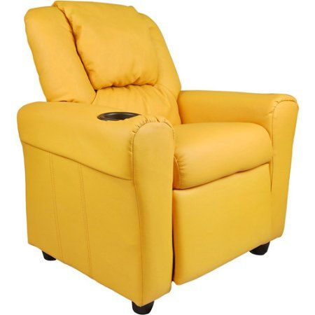 Flash Furniture Kids' Vinyl Recliner with Cupholder and Headrest, Multiple Colors, Yellow