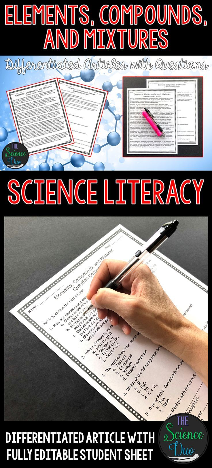 Elements Compounds And Mixtures Science Literacy Article Distance Learning Science Literacy Middle School Science Science Classroom [ 1619 x 736 Pixel ]