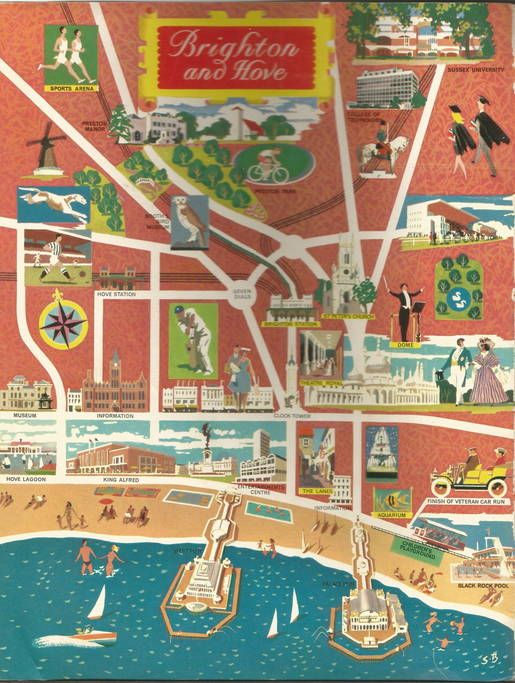 1967 Tourist Map Of Brighton Showing Seven Dials In The Centre