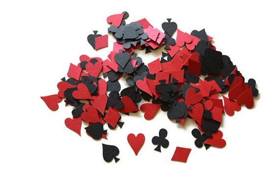 Poker Confetti - 200 Pieces - Playing Card Suit - Hearts - Diamonds - Clubs - Spades - Game Night - Alice in Wonderland - Las Vegas - Casino
