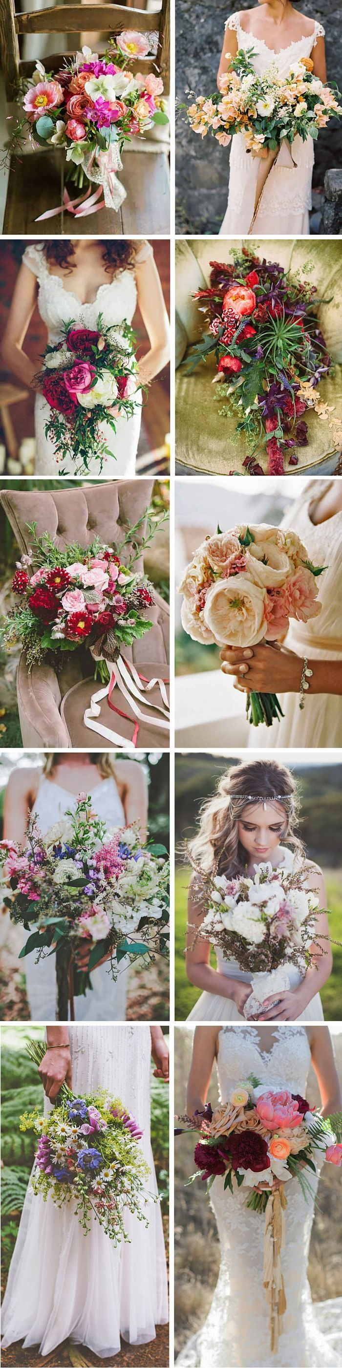 Bohemian Wedding Bouquets That Are Totally Chic. Bohemian chic wedding bouquets are full of whimsical details, wild flowers and feathers.