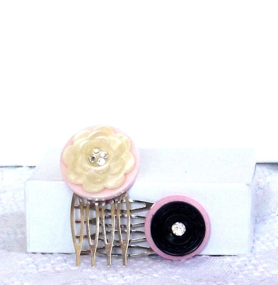 Repurposed Vintage Button Hair Comb Set      by SophiesHatsandMore