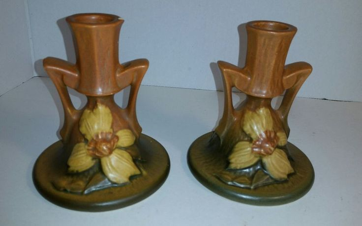 Vintage Pair Roseville Pottery Clematis Brown Candle Holders 1159 Set of 2